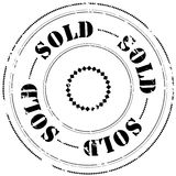 Rubber stamp: Sold. Illustration of a grunge rubber ink stamp on white background with text: Sold Stock Images
