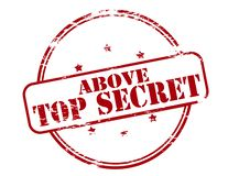 Above top secret. Rubber stamp with text above top secret inside,  illustration Royalty Free Stock Photo