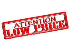 Attention low price. Rubber stamp with text attention low price inside,  illustration Stock Image
