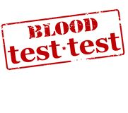 Blood test. Rubber stamp with text blood test inside,  illustration Stock Photography