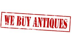 We buy antiques. Rubber stamp with text we buy antiques inside,  illustration Stock Photography