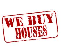 We buy houses. Rubber stamp with text we buy houses inside,  illustration Royalty Free Stock Images