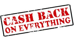 Cash back on everything. Rubber stamp with text cash back on everything inside,  illustration Stock Photos