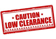 Caution low clearance. Rubber stamp with text caution low clearance inside,  illustration Stock Photo