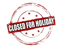 Closed for holiday. Rubber stamp with text closed for holiday inside,  illustration Royalty Free Stock Photo