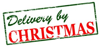 Delivery by Christmas. Rubber stamp with text delivery by Christmas inside,  illustration Stock Photography