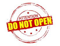 Do not open. Rubber stamp with text do not open inside,  illustration Stock Photo