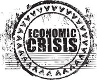 Rubber stamp with the text economic crisis. Abstract black grunge rubber stamp with the text economic crisis written inside the stamp Stock Photos