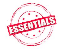 Essentials. Rubber stamp with text essentials inside,  illustration Royalty Free Stock Photo