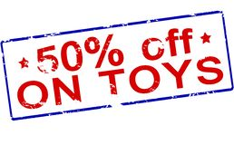 Fifty percent off on toys. Rubber stamp with text fifty percent off on toys inside,  illustration Royalty Free Stock Photos