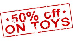 Fifty percent off on toys. Rubber stamp with text fifty percent off on toys inside,  illustration Stock Photo