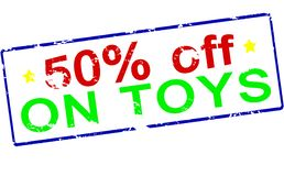 Fifty percent off on toys. Rubber stamp with text fifty percent off on toys inside,  illustration Stock Photos