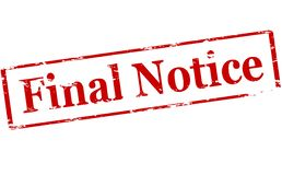 Final notice. Rubber stamp with text final notice inside,  illustration Royalty Free Stock Image