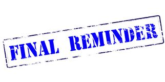 Final reminder. Rubber stamp with text final reminder inside,  illustration Royalty Free Stock Image