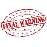 Final warning. Rubber stamp with text final warning inside,  illustration Royalty Free Stock Photo