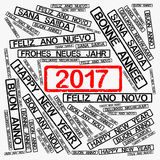 Rubber stamp with text Happy New Year 2017. Rubber stamp label with text Happy New Year 2017 in different languages Royalty Free Stock Photo