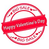 Happy Valentine day big sale. Rubber stamp with text happy Valentine day big sale inside,  illustration Royalty Free Stock Photo