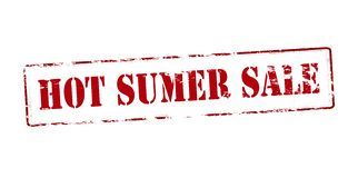 Hot summer sale. Rubber stamp with text hot summer sale inside,  illustration Royalty Free Stock Photography