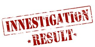 Investigation result. Rubber stamp with text investigation result inside,  illustration Royalty Free Stock Photos