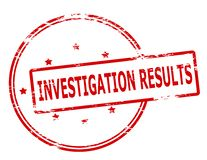 Investigation results. Rubber stamp with text investigation results inside,  illustration Stock Photos