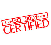 Rubber stamp with text iso 9001 certified Royalty Free Stock Image