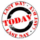 Last day today. Rubber stamp with text last day today inside,  illustration Royalty Free Stock Photos