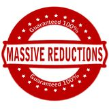 Massive reductions. Rubber stamp with text massive reductions inside, illustration vector illustration