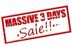 Massive three days sale. Rubber stamp with text massive three days sale inside,  illustration Stock Photos