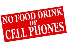 No food drink or cell phones. Rubber stamp with text no food drink or cell phones inside,  illustration Royalty Free Stock Photos