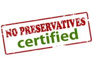 No preservatives certified. Rubber stamp with text no preservatives certified inside,  illustration Royalty Free Stock Image