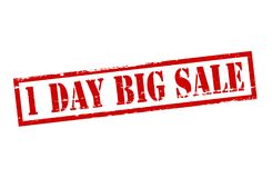 One day big sale. Rubber stamp with text one day big sale inside,  illustration Royalty Free Stock Image