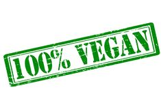 One hundred percent vegan. Rubber stamp with text one hundred percent vegan inside,  illustration Royalty Free Stock Photos