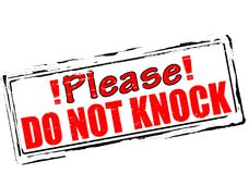 Please do not knock. Rubber stamp with text please do not knock inside,  illustration Stock Images
