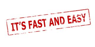 It s fast and easy. Rubber stamp with text it s fast and easy inside,  illustration Royalty Free Stock Images