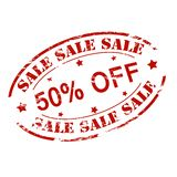 Sale fifty percent off. Rubber stamp with text sale fifty percent off inside,  illustration Stock Photography