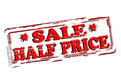 Sale half price. Rubber stamp with text sale half price inside,  illustration Stock Image