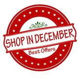 Shop in December. Rubber stamp with text shop in December inside,  illustration Stock Photography
