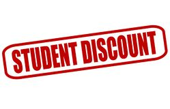 Student discount. Rubber stamp with text student discount inside,  illustration Stock Photos