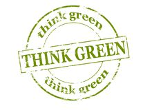 Think green. Rubber stamp with text think green inside,  illustration Stock Photo