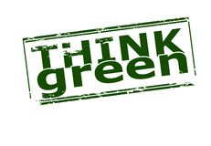 Think green. Rubber stamp with text think green inside,  illustration Royalty Free Stock Image