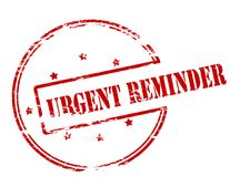 Urgent reminder. Rubber stamp with text urgent reminder inside,  illustration Royalty Free Stock Photography