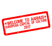 Rubber stamp with text welcome to Aarhus, european capital of culture 2017 Royalty Free Stock Image