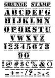 Grunge Stamp Font. Rubber Stamp Vector grunge alphabet, numbers and symbols font. Original artwork A4 size vector illustration