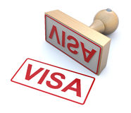 Rubber stamp - Visa. 3D concept with rubber stamp and word visa Royalty Free Stock Image
