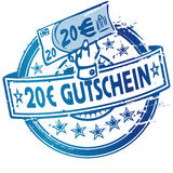 Rubber stamp with voucher over 20 Euro Royalty Free Stock Images