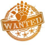 Rubber stamp wanted Stock Images
