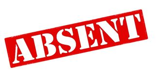 Absent. Rubber stamp with word absent inside,  illustration Stock Photos