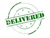 Delivered. Rubber stamp with word delivered inside,  illustration Royalty Free Stock Photo