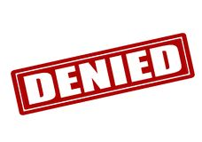 Denied. Rubber stamp with word denied inside,  illustration Royalty Free Stock Photo
