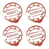Rubber stamp with word discount in german, french, spanish and italian Stock Image